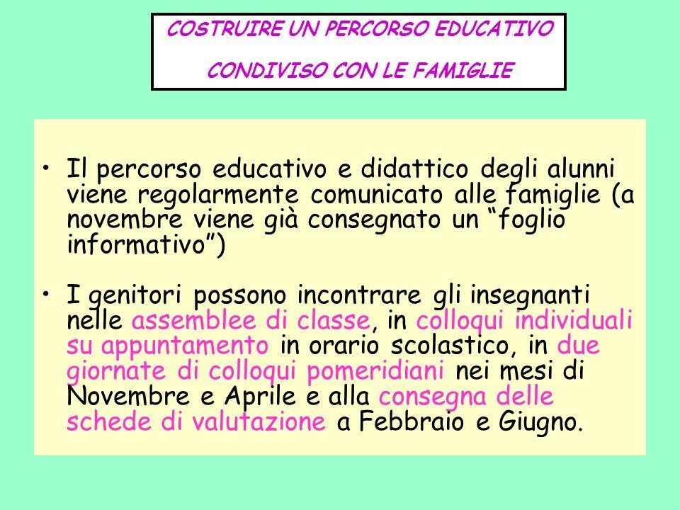 COSTRUIRE UN PERCORSO EDUCATIVO CONDIVISO CON LE FAMIGLIE