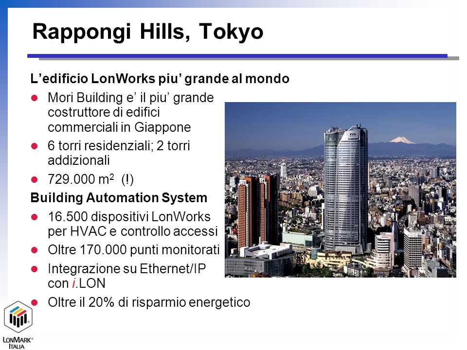 Rappongi Hills, Tokyo L'edificio LonWorks piu' grande al mondo
