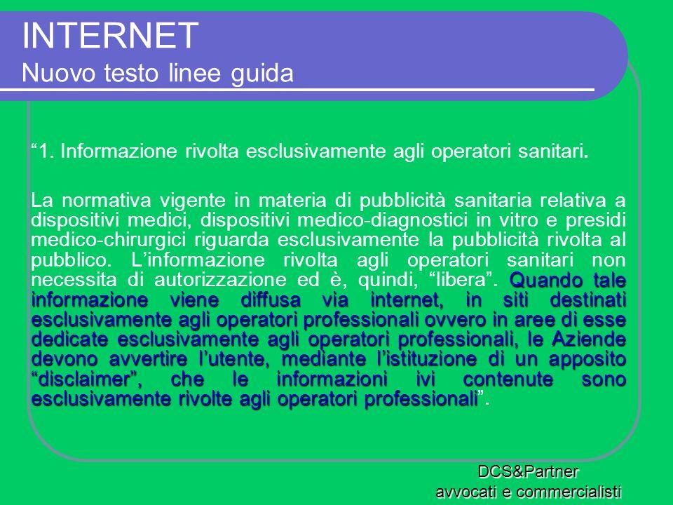 INTERNET Nuovo testo linee guida