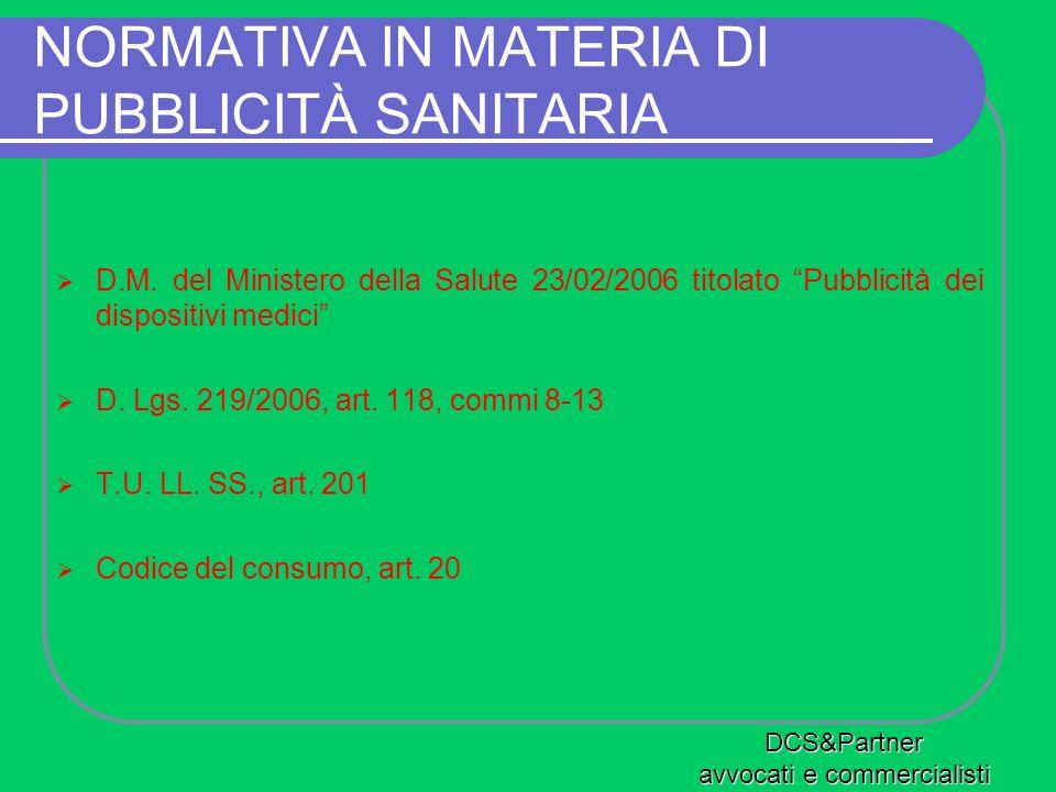 NORMATIVA IN MATERIA DI PUBBLICITÀ SANITARIA