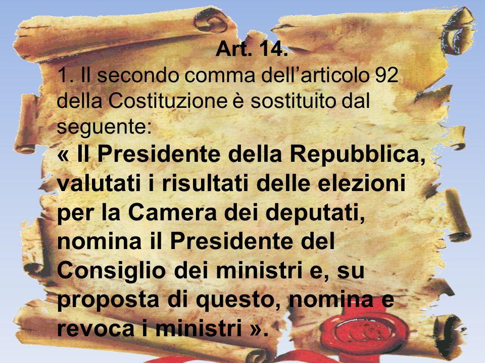 Art. 14. 1. Il secondo comma dell'articolo 92 della Costituzione è sostituito dal seguente: