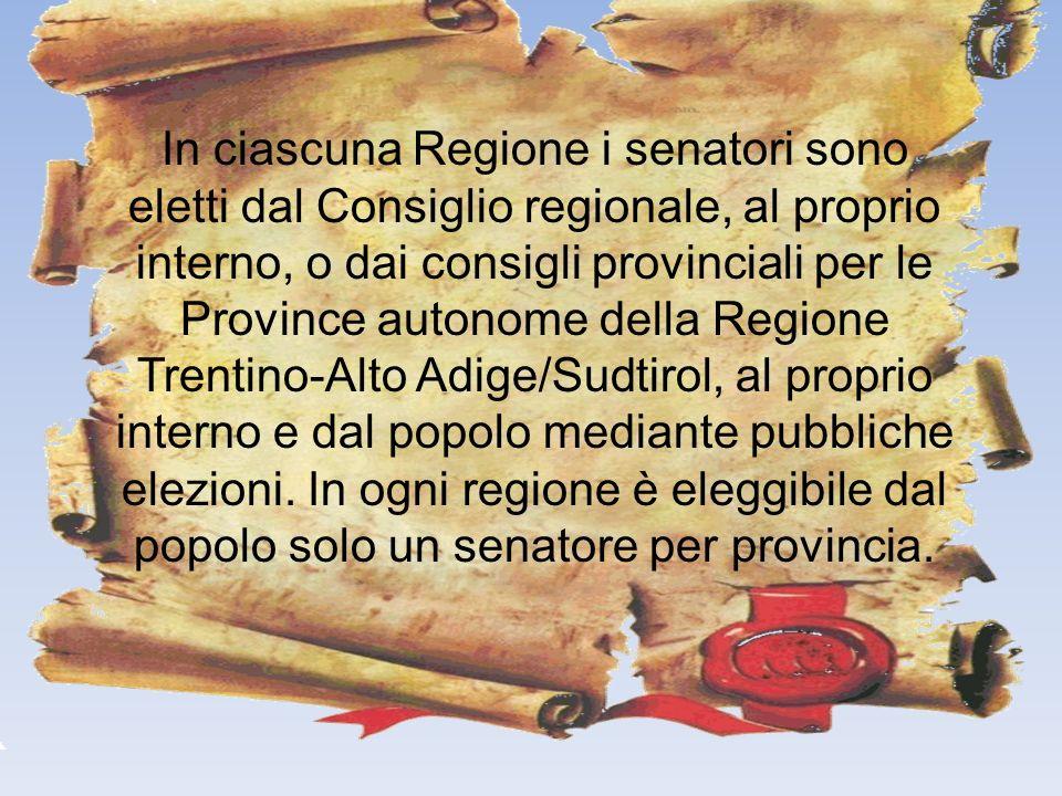 In ciascuna Regione i senatori sono eletti dal Consiglio regionale, al proprio interno, o dai consigli provinciali per le Province autonome della Regione Trentino-Alto Adige/Sudtirol, al proprio interno e dal popolo mediante pubbliche elezioni.
