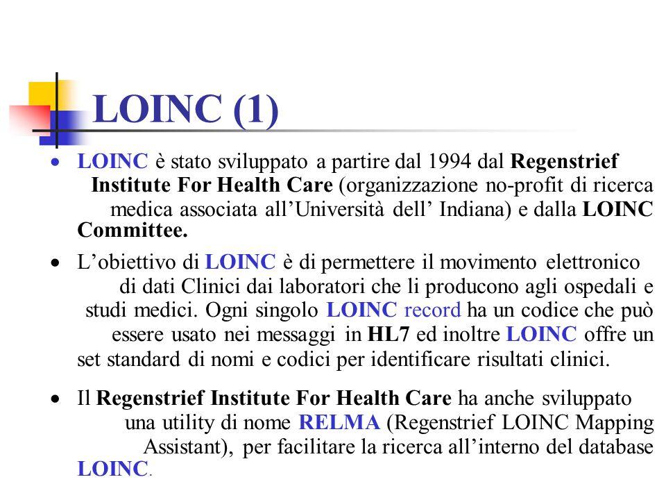 LOINC (1) LOINC è stato sviluppato a partire dal 1994 dal Regenstrief