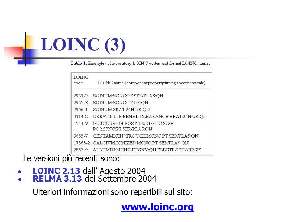 LOINC (3) www.loinc.org Le versioni più recenti sono: