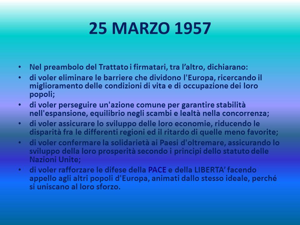 25 MARZO 1957 Nel preambolo del Trattato i firmatari, tra l'altro, dichiarano: