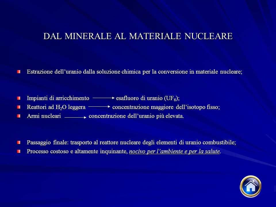 DAL MINERALE AL MATERIALE NUCLEARE