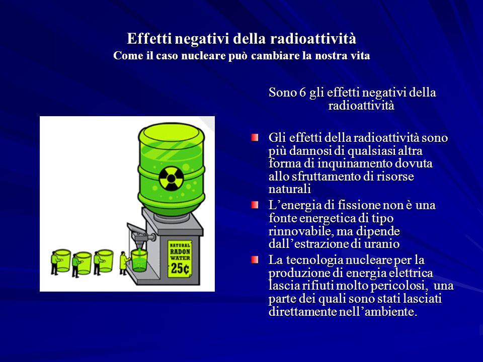 Sono 6 gli effetti negativi della radioattività