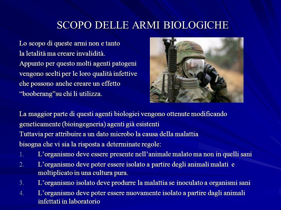 SCOPO DELLE ARMI BIOLOGICHE