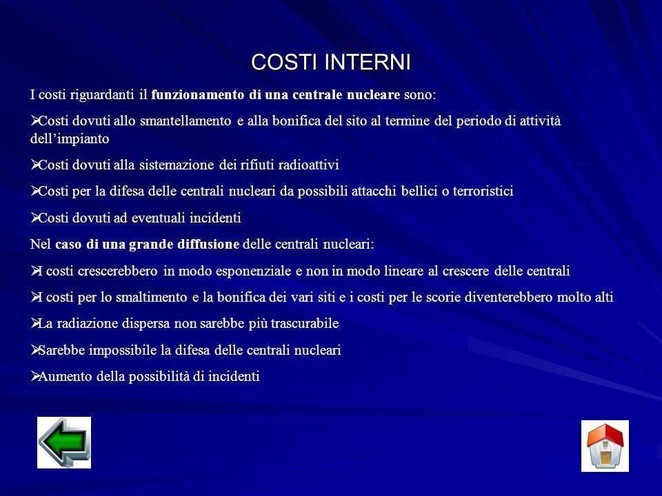 COSTI INTERNI I costi riguardanti il funzionamento di una centrale nucleare sono: