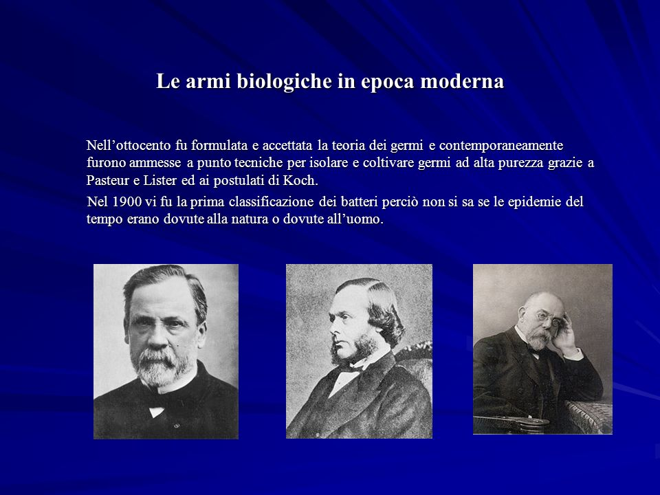 Le armi biologiche in epoca moderna
