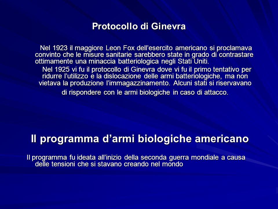 Il programma d'armi biologiche americano