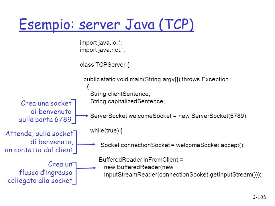 Esempio: server Java (TCP)