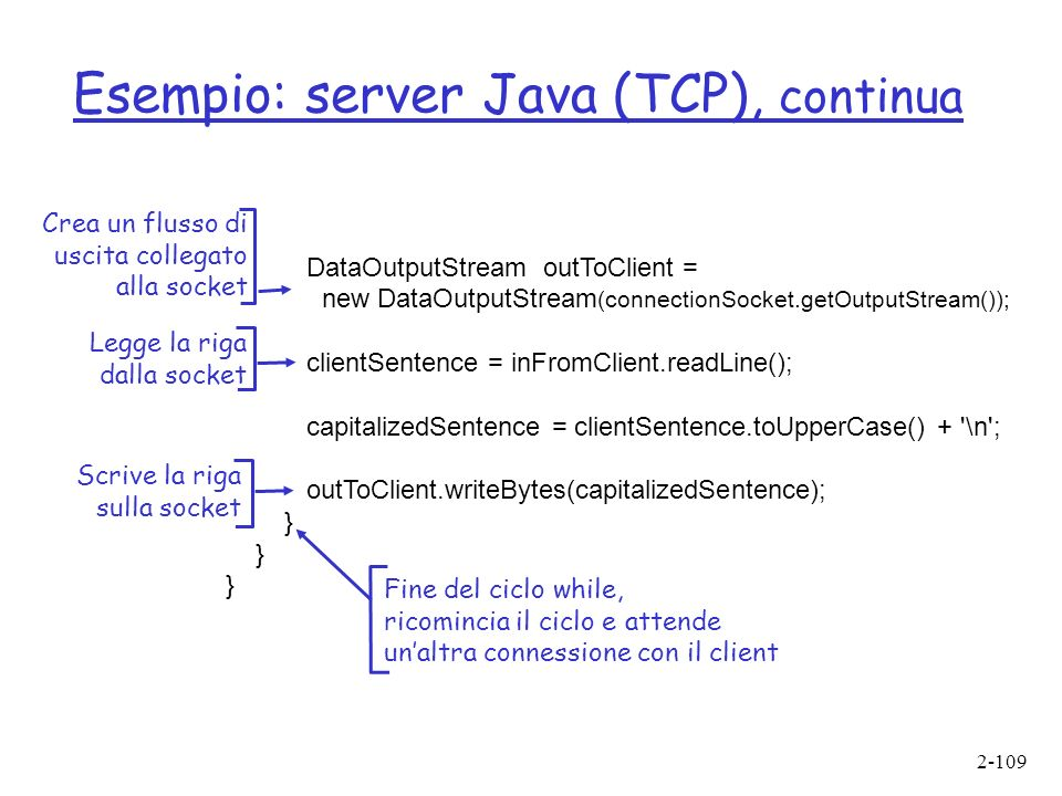 Esempio: server Java (TCP), continua