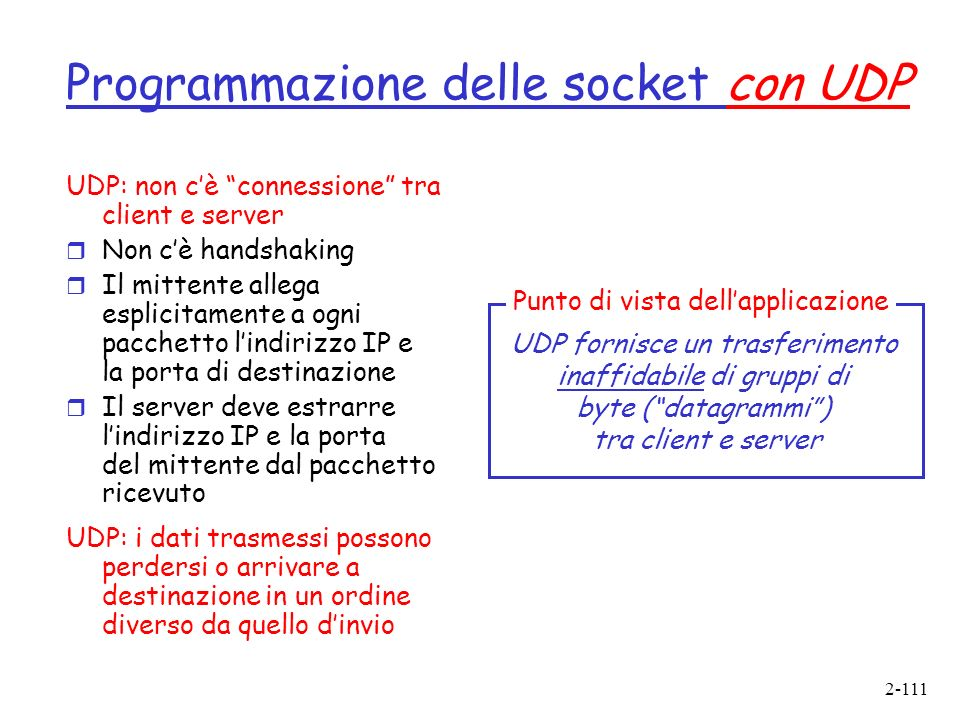 Programmazione delle socket con UDP