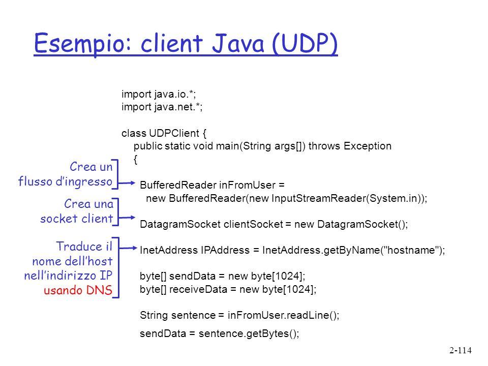 Esempio: client Java (UDP)