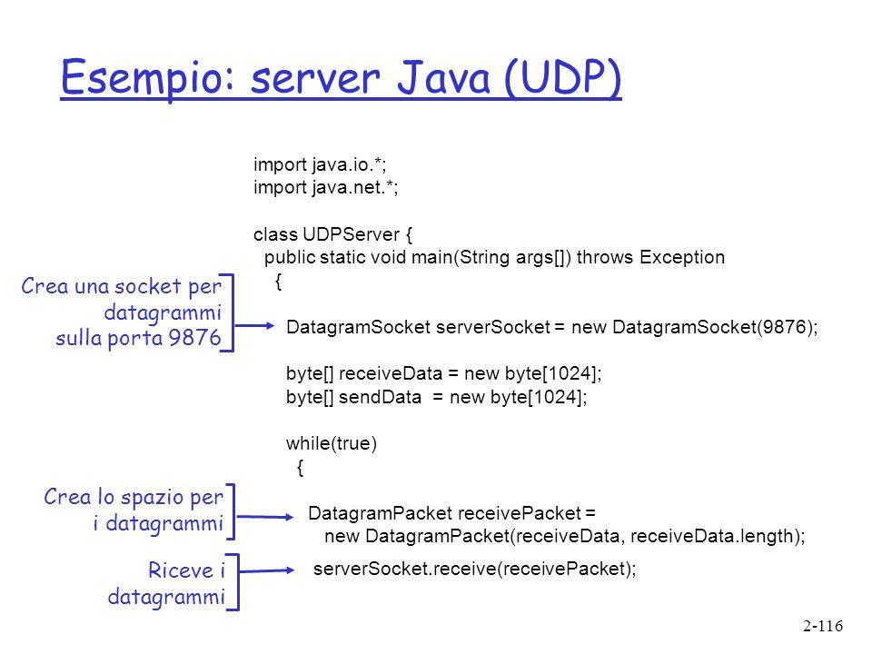 Esempio: server Java (UDP)