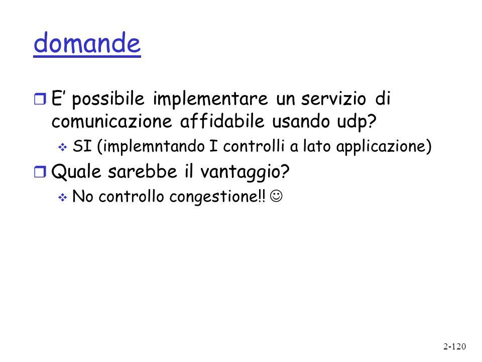 domande E' possibile implementare un servizio di comunicazione affidabile usando udp SI (implemntando I controlli a lato applicazione)