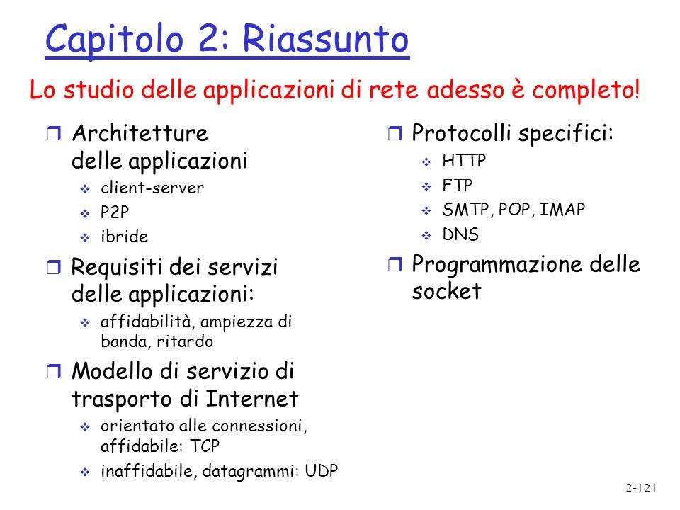 Capitolo 2: Riassunto Lo studio delle applicazioni di rete adesso è completo! Architetture delle applicazioni.