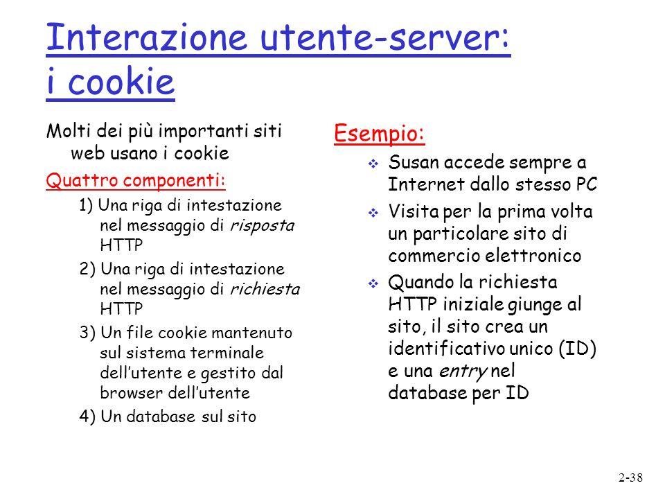 Interazione utente-server: i cookie