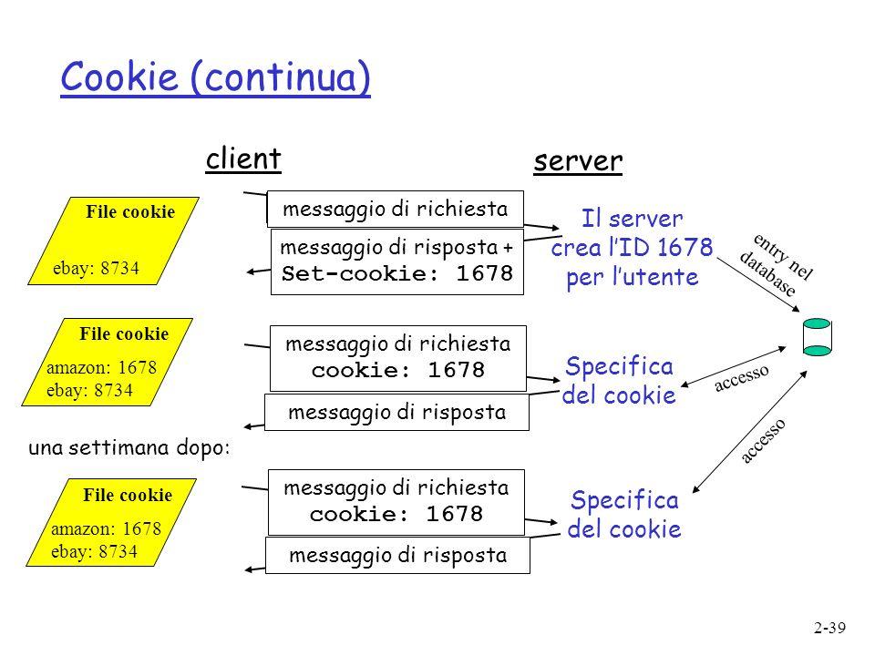 Cookie (continua) client server Il server crea l'ID 1678 per l'utente