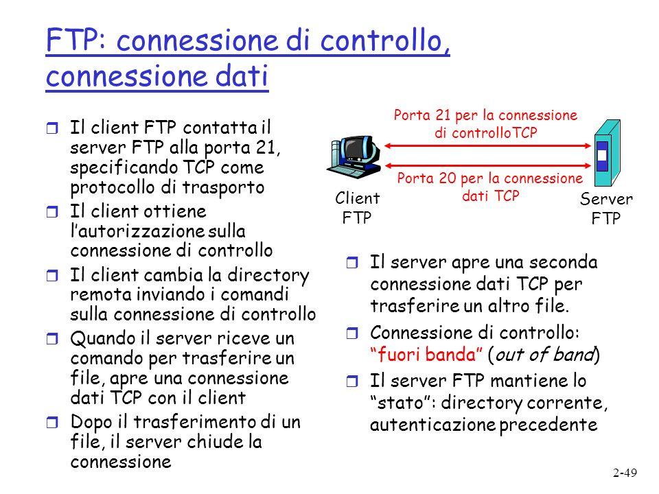 FTP: connessione di controllo, connessione dati