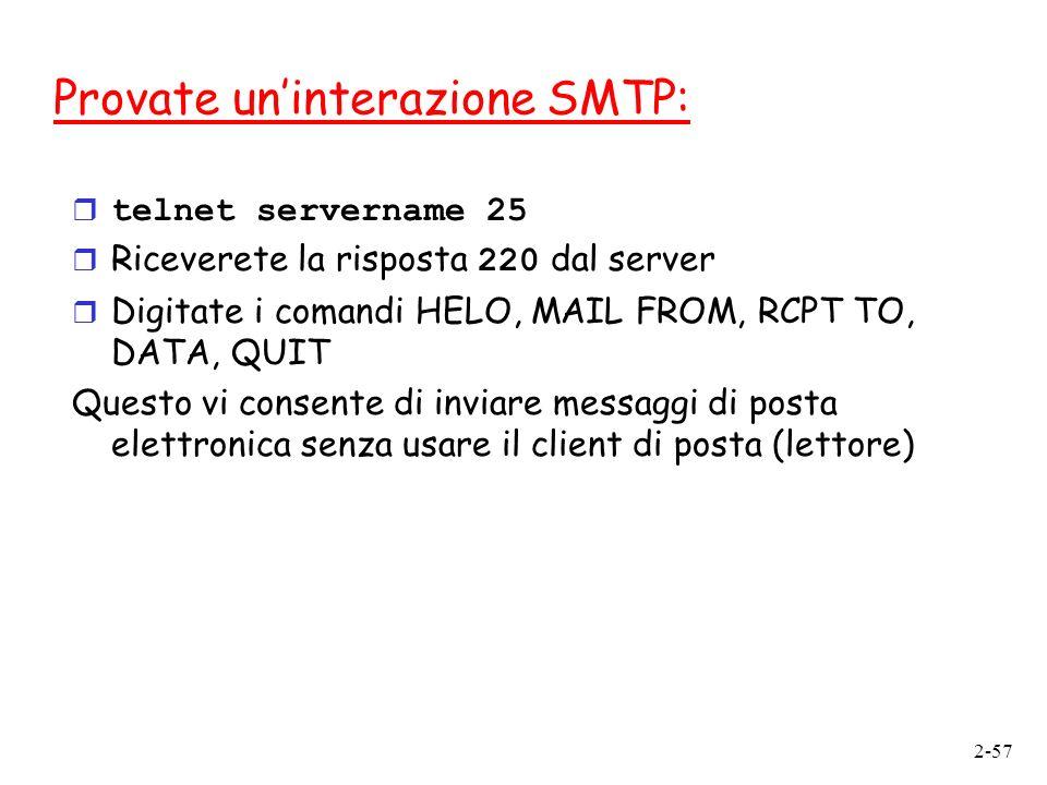 Provate un'interazione SMTP: