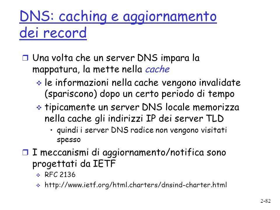 DNS: caching e aggiornamento dei record