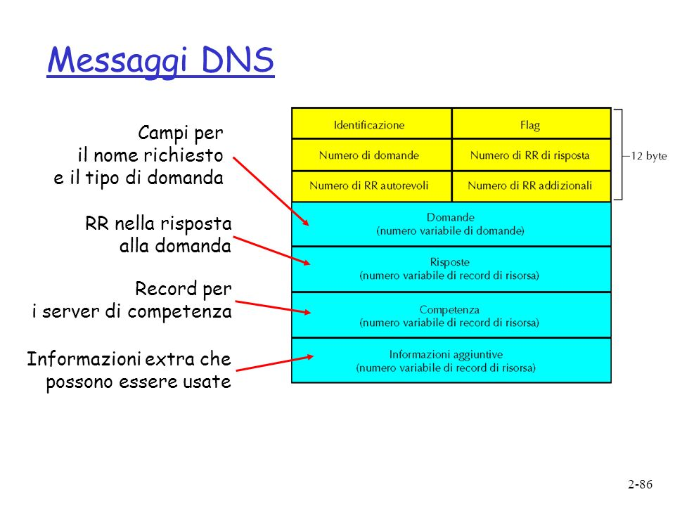 Messaggi DNS Campi per il nome richiesto e il tipo di domanda
