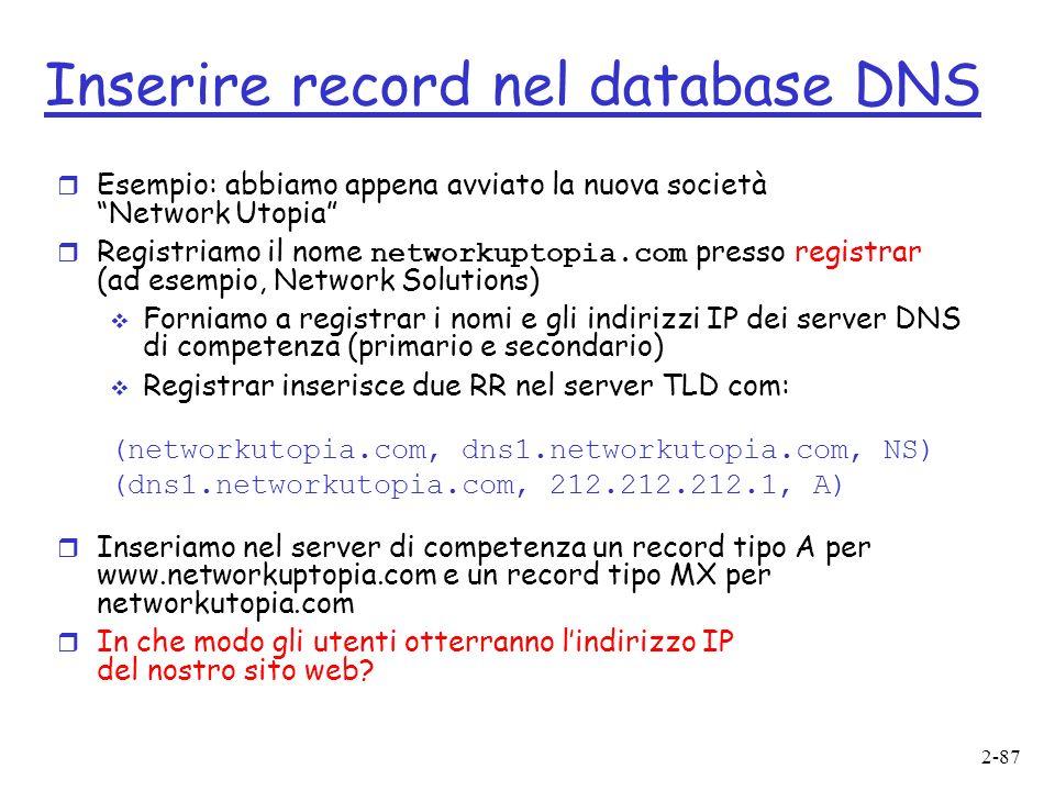 Inserire record nel database DNS