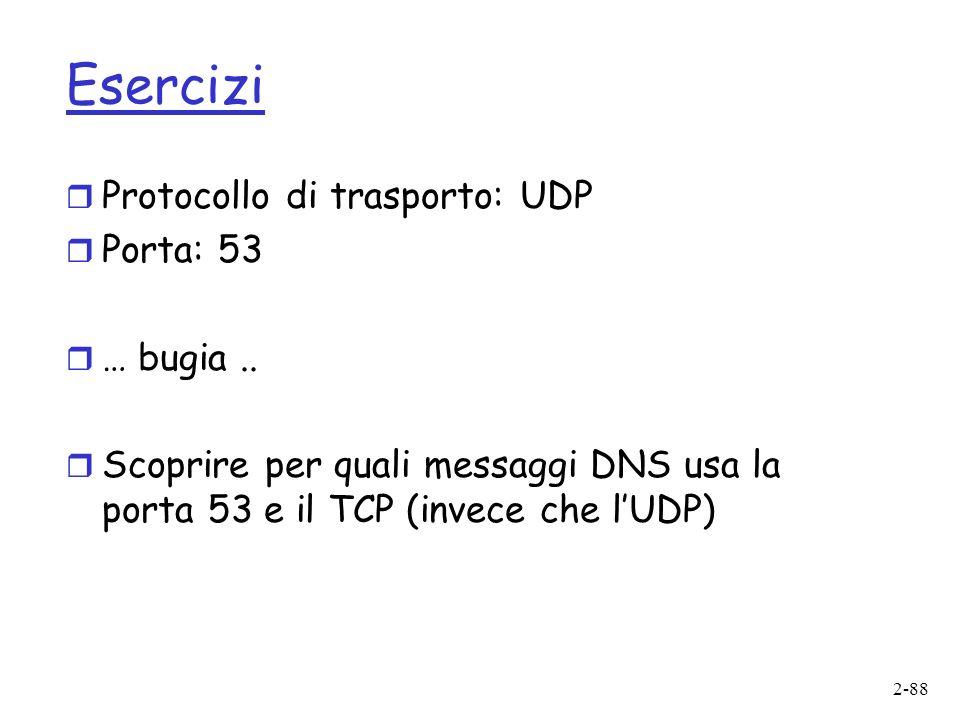 Esercizi Protocollo di trasporto: UDP Porta: 53 … bugia ..