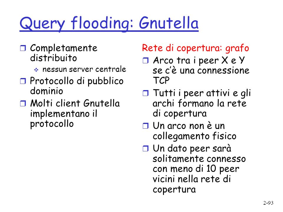 Query flooding: Gnutella