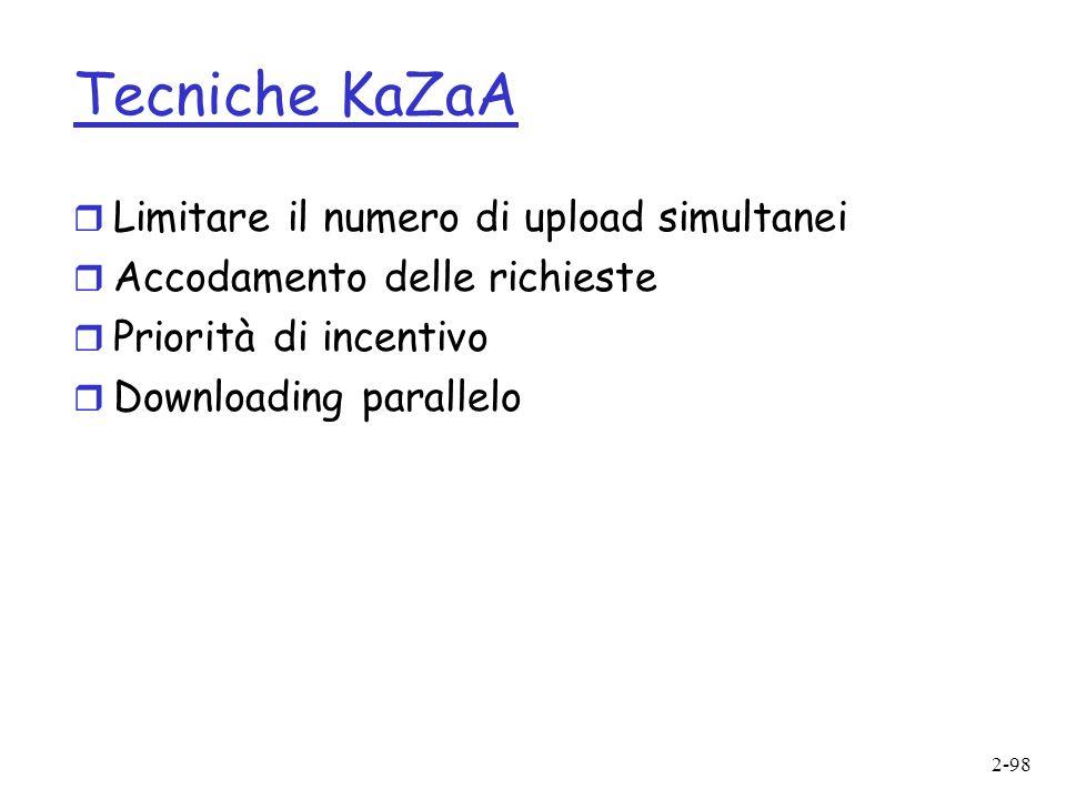 Tecniche KaZaA Limitare il numero di upload simultanei
