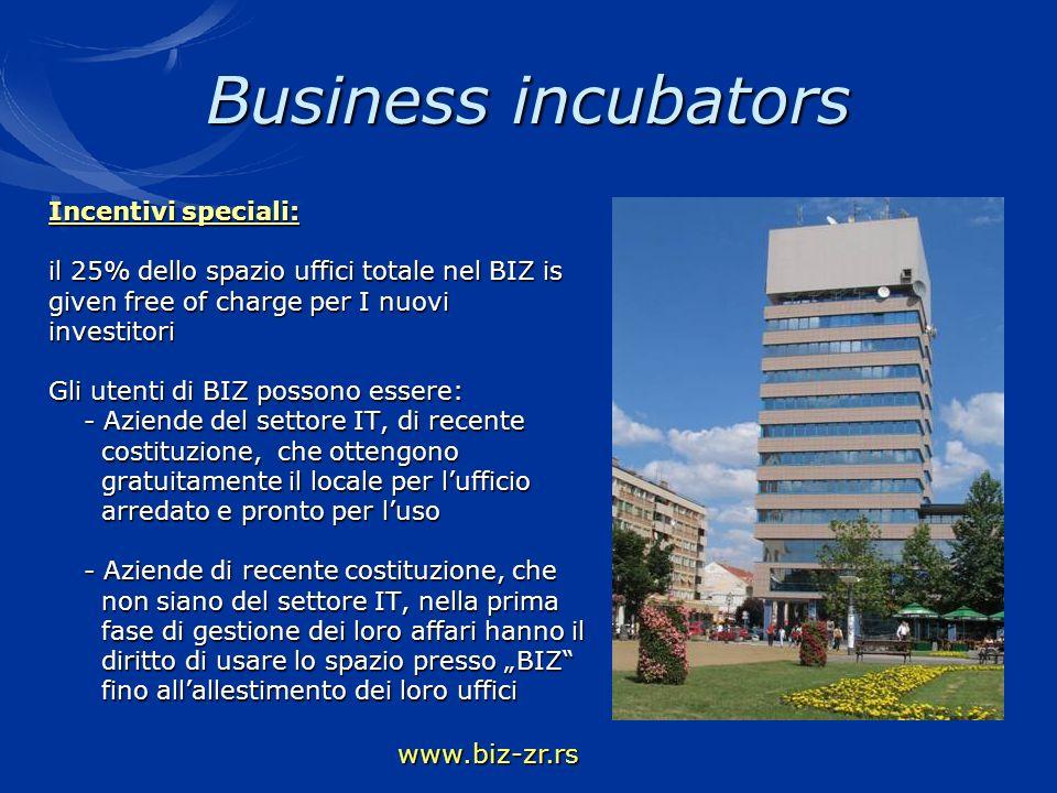 Business incubators www.biz-zr.rs Incentivi speciali: