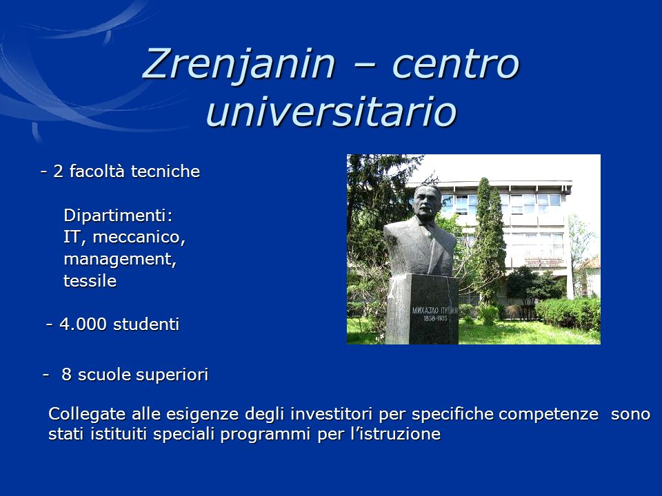 Zrenjanin – centro universitario