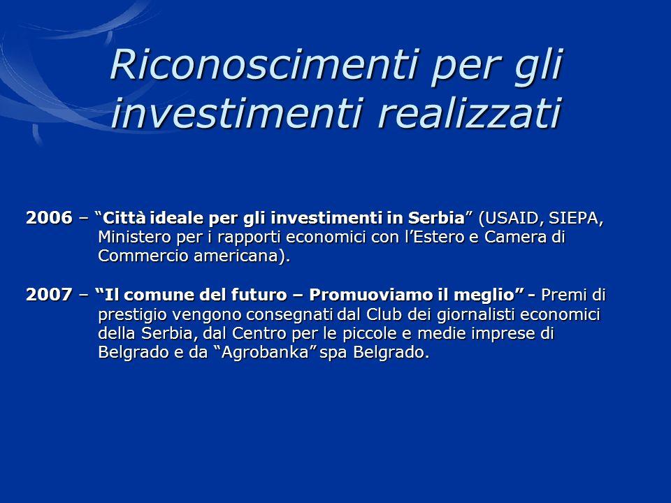 Riconoscimenti per gli investimenti realizzati