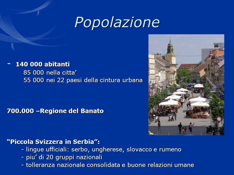 Popolazione - 140 000 abitanti 85 000 nella citta'