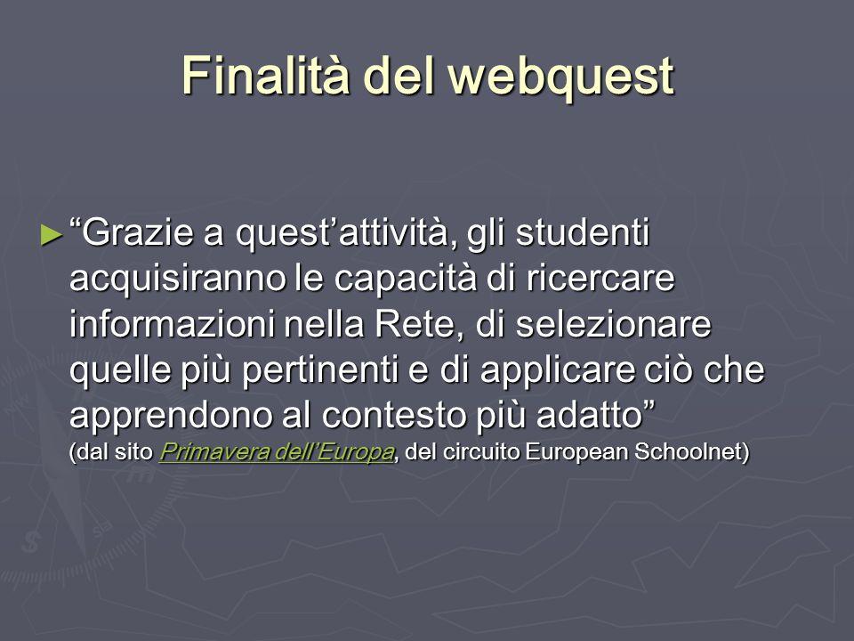 Finalità del webquest