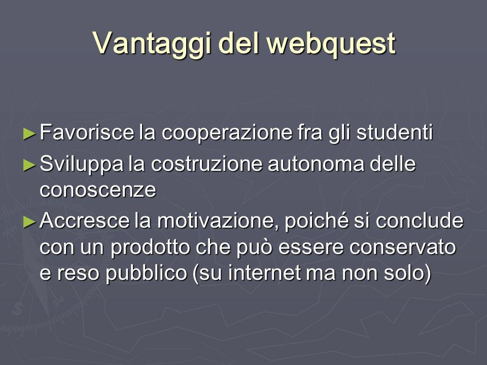 Vantaggi del webquest Favorisce la cooperazione fra gli studenti