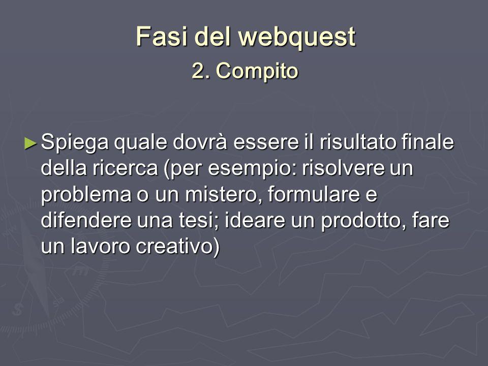 Fasi del webquest 2. Compito