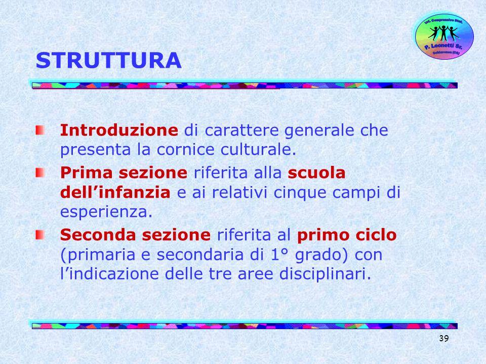 Ist. Comprensivo Stat. Schiavonea (CS) P. Leonetti Sr. STRUTTURA. Introduzione di carattere generale che presenta la cornice culturale.