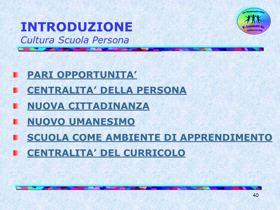 INTRODUZIONE Cultura Scuola Persona