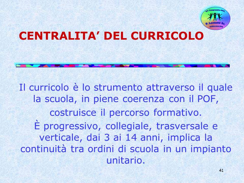 CENTRALITA' DEL CURRICOLO