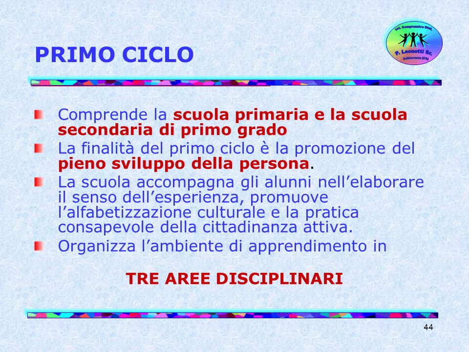 PRIMO CICLO Ist. Comprensivo Stat. Schiavonea (CS) P. Leonetti Sr. Comprende la scuola primaria e la scuola secondaria di primo grado.
