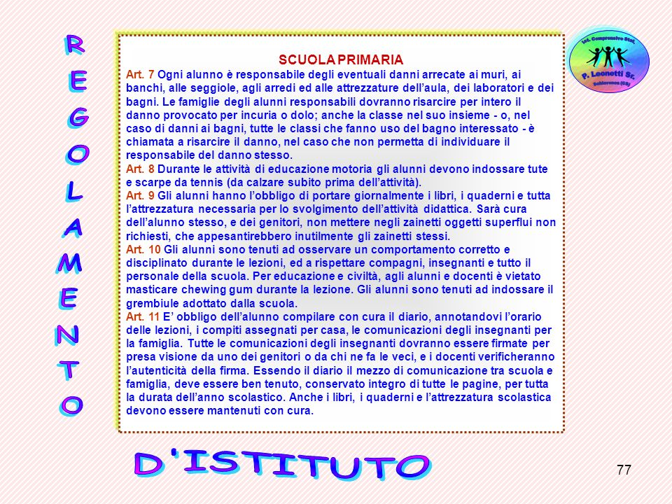 SCUOLA PRIMARIA REGOLAMENTO D ISTITUTO