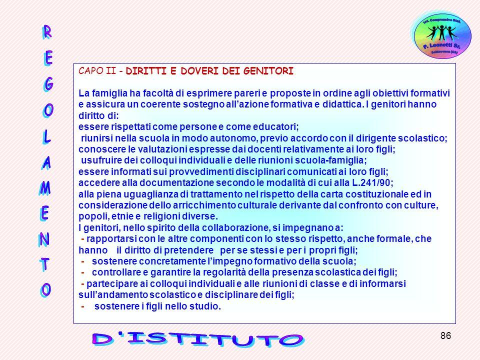 CAPO II - DIRITTI E DOVERI DEI GENITORI