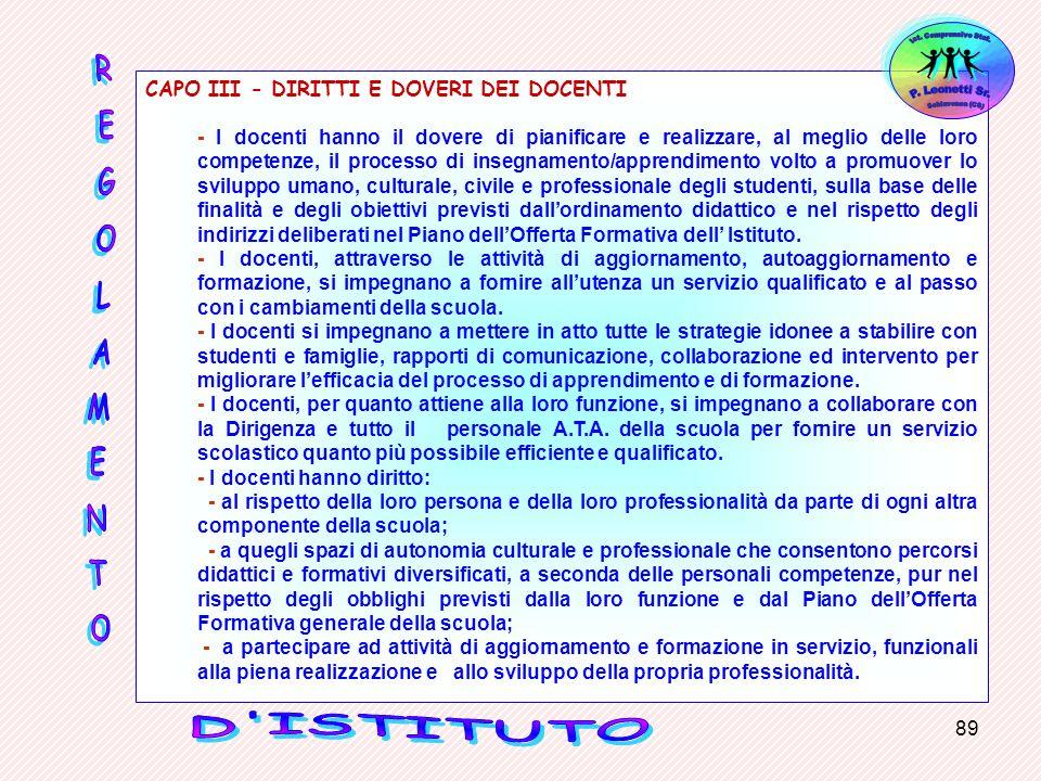 CAPO III - DIRITTI E DOVERI DEI DOCENTI
