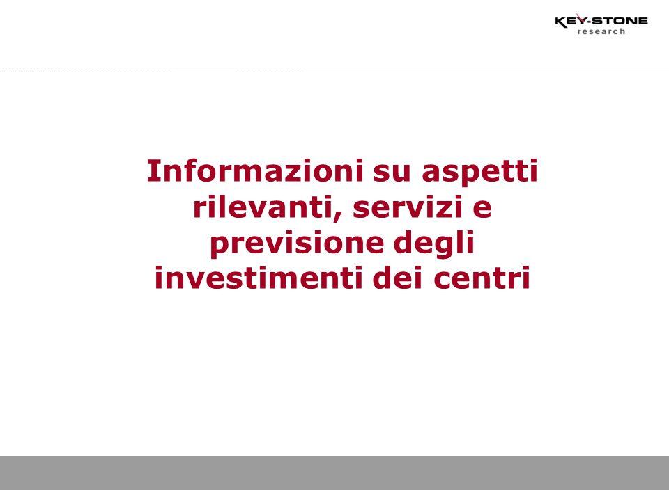Informazioni su aspetti rilevanti, servizi e previsione degli investimenti dei centri