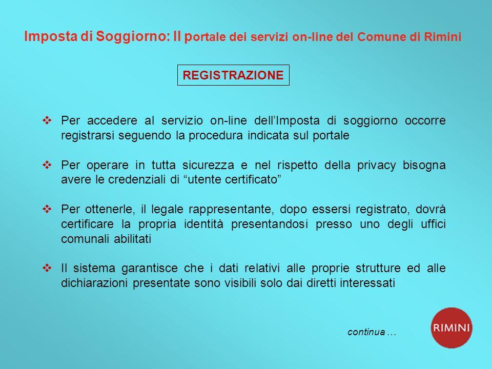 Imposta di Soggiorno: Il portale dei servizi on-line del Comune di Rimini