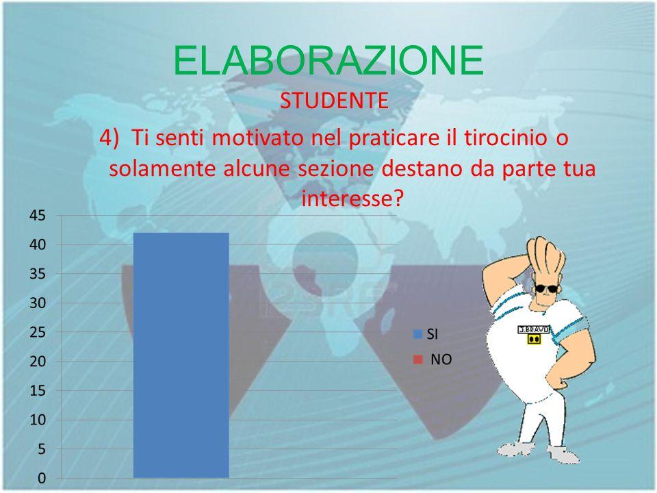 ELABORAZIONE STUDENTE 4) Ti senti motivato nel praticare il tirocinio o solamente alcune sezione destano da parte tua interesse.