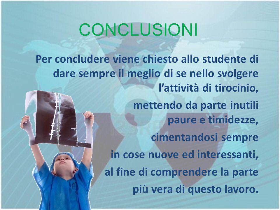CONCLUSIONI Per concludere viene chiesto allo studente di dare sempre il meglio di se nello svolgere l'attività di tirocinio,